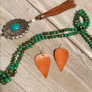 Cognac Leaf Earrings